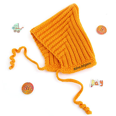 Clothing handmade. Livemaster - original item children`s elf hat for baby girl knitted warm, orange color. Handmade.