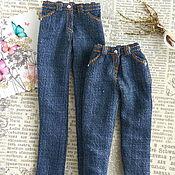 Куклы и игрушки handmade. Livemaster - original item Realistic jeans for Barbie and Blythe dolls. Denim pants. Handmade.