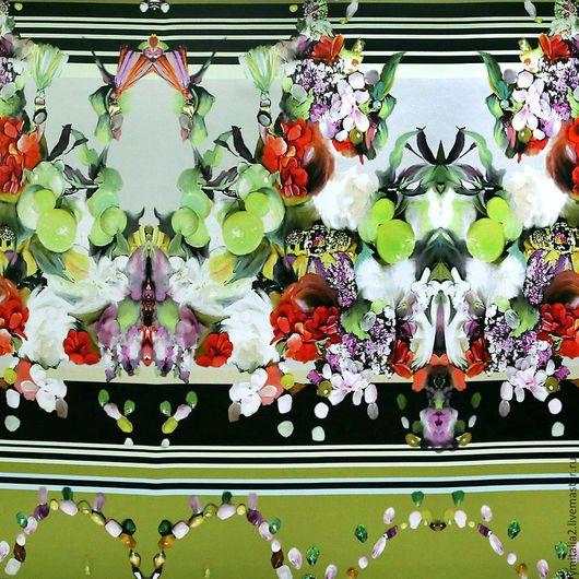 Шитье ручной работы. Ярмарка Мастеров - ручная работа. Купить Шелк атласный  DOLCE&GABBANA фрукты  и цветы. Handmade. Итальянские ткани