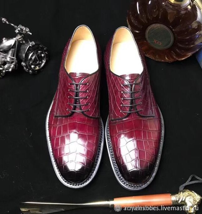 Men's shoes, crocodile leather in Burgundy, Shoes, Tosno,  Фото №1