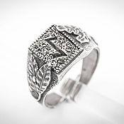 Украшения ручной работы. Ярмарка Мастеров - ручная работа Кольцо с руной Эйваз, серебряный перстень, славянский символ. Handmade.