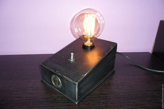 Освещение ручной работы. Ярмарка Мастеров - ручная работа. Купить лофт лампа N010. Handmade. Черный, винтаж, фанера