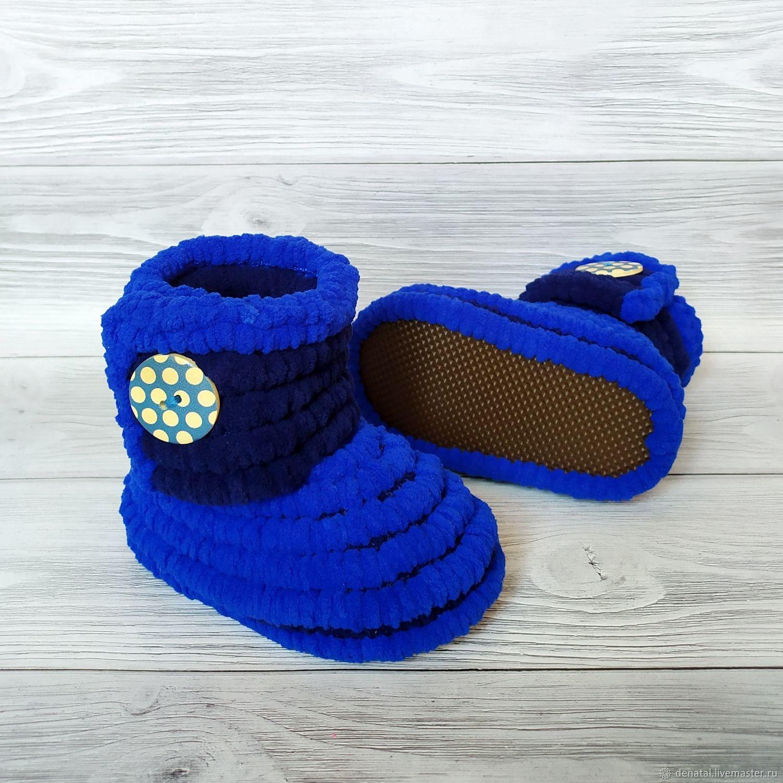 вязаные плюшевые сапожки, 12.5 см по стопе, размер 20, Обувь детская, Иркутск,  Фото №1