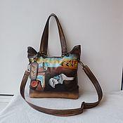handmade. Livemaster - original item Leather double-sided bag with custom painting for Alexandra.. Handmade.