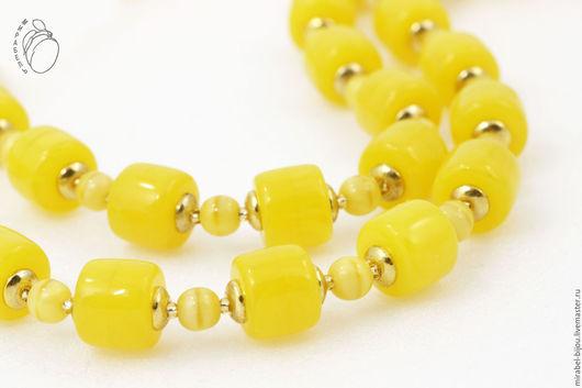 Мирабель-бижутерия. Яркий летний двухрядный желтый браслет, лимонный, под золото, фото. Купить браслет в Москве. Mirabelle. Handmade. Double row bracelet yellow fresh lemon juice