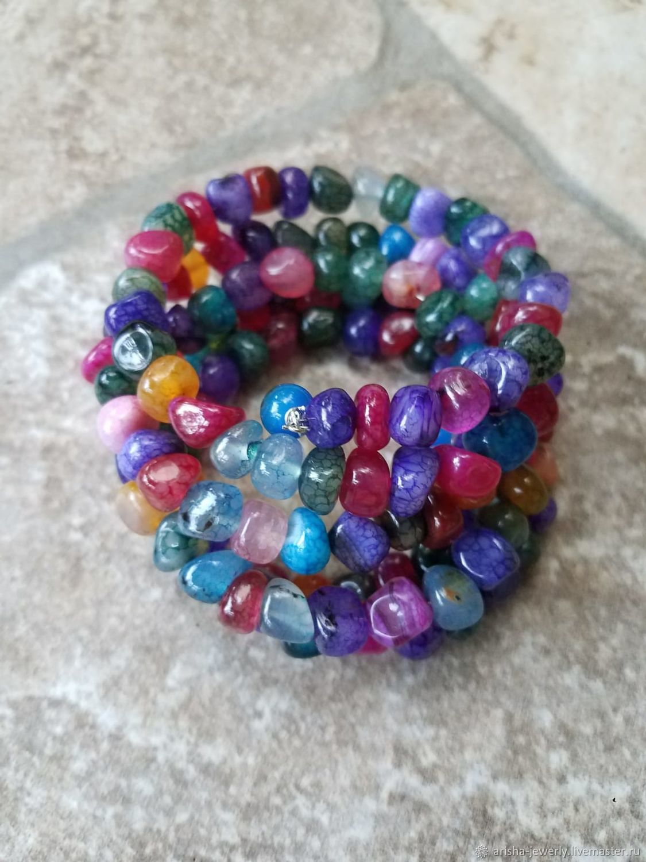 Bracelet multi-row Agate - the colors of SUMMER, Bead bracelet, Ashkelon,  Фото №1