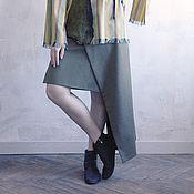 Одежда ручной работы. Ярмарка Мастеров - ручная работа Узкая асимметричная юбка с эффектом запаха цвета хаки. Handmade.