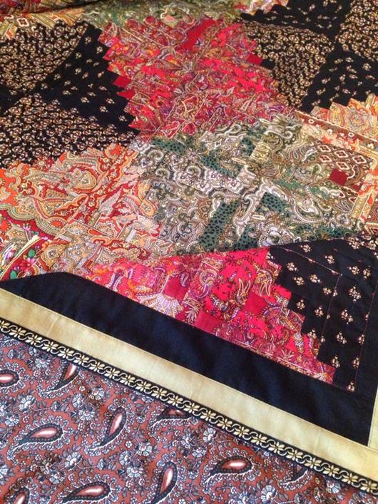 Текстиль, ковры ручной работы. Ярмарка Мастеров - ручная работа. Купить Лоскутное покрывало из павлопосадских платков. Handmade. Разноцветный