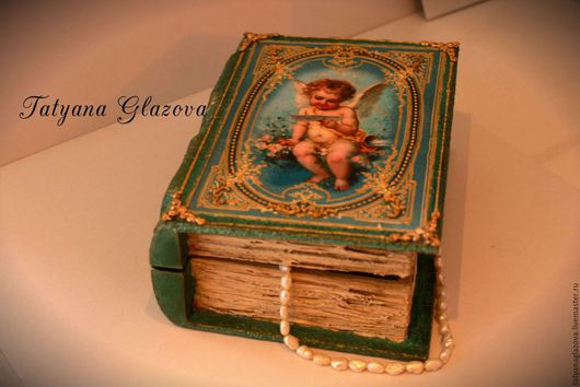 Шкатулки ручной работы. Ярмарка Мастеров - ручная работа. Купить Читающий ангел. Handmade. Тёмно-бирюзовый, декупаж шкатулки