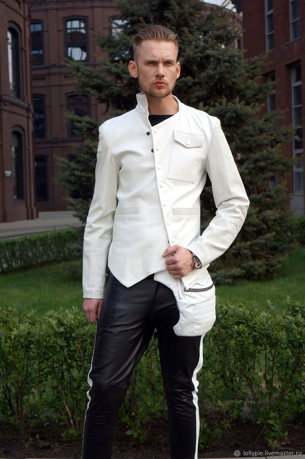 White Leather Jacket, Jackets for men, Moscow,  Фото №1