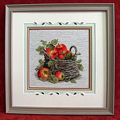 Картины и панно handmade. Livemaster - original item Cross stitch Ripe apples. Handmade.