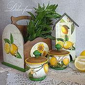 """Для дома и интерьера ручной работы. Ярмарка Мастеров - ручная работа большой комплект """"Лимоны+подсолнухи"""". Handmade."""