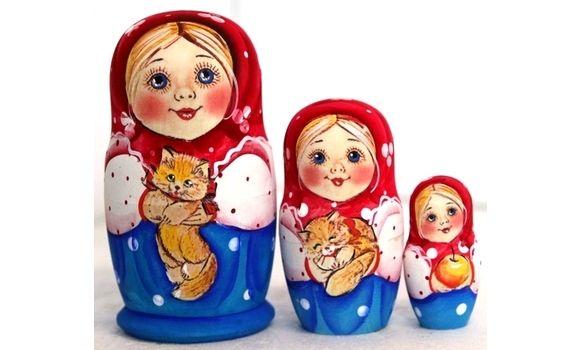 Матрёшка Настя с котёнком 3м 11см, Народная кукла, Шатура,  Фото №1
