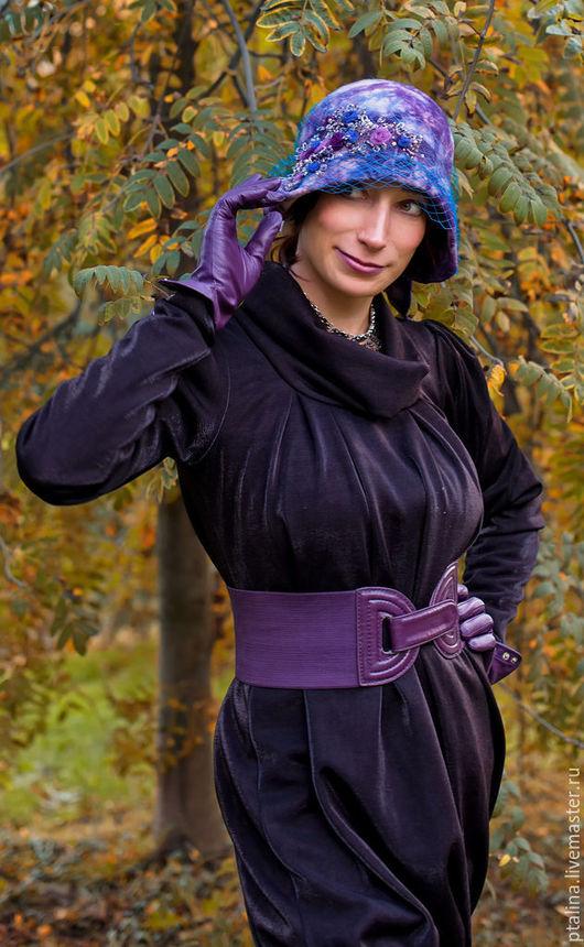 шляпка     шляпа     ретро стиль     винтажный стиль     фетровая шляпа     авторские головные уборы     дизайнерская одежда     эксклюзивная работа     эксклюзив     васильковый     женская