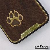 handmade. Livemaster - original item WOLF CLAW - protective bumper case for phone (wenge, bronze). Handmade.