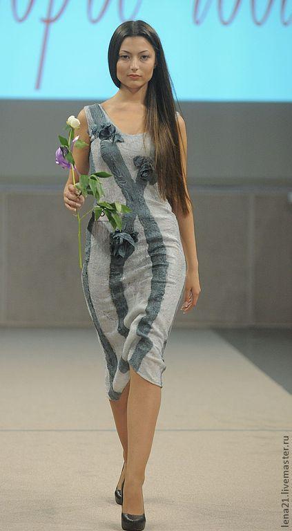 Платья ручной работы. Ярмарка Мастеров - ручная работа. Купить Серое платье с объемными розами. Handmade. Серый, кутюрье года