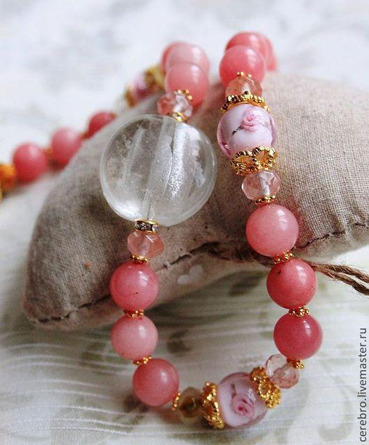 """Колье, бусы ручной работы. Ярмарка Мастеров - ручная работа. Купить """"Весна"""" ожерелье и серьги из розового агата и бусин  lampwork. Handmade."""
