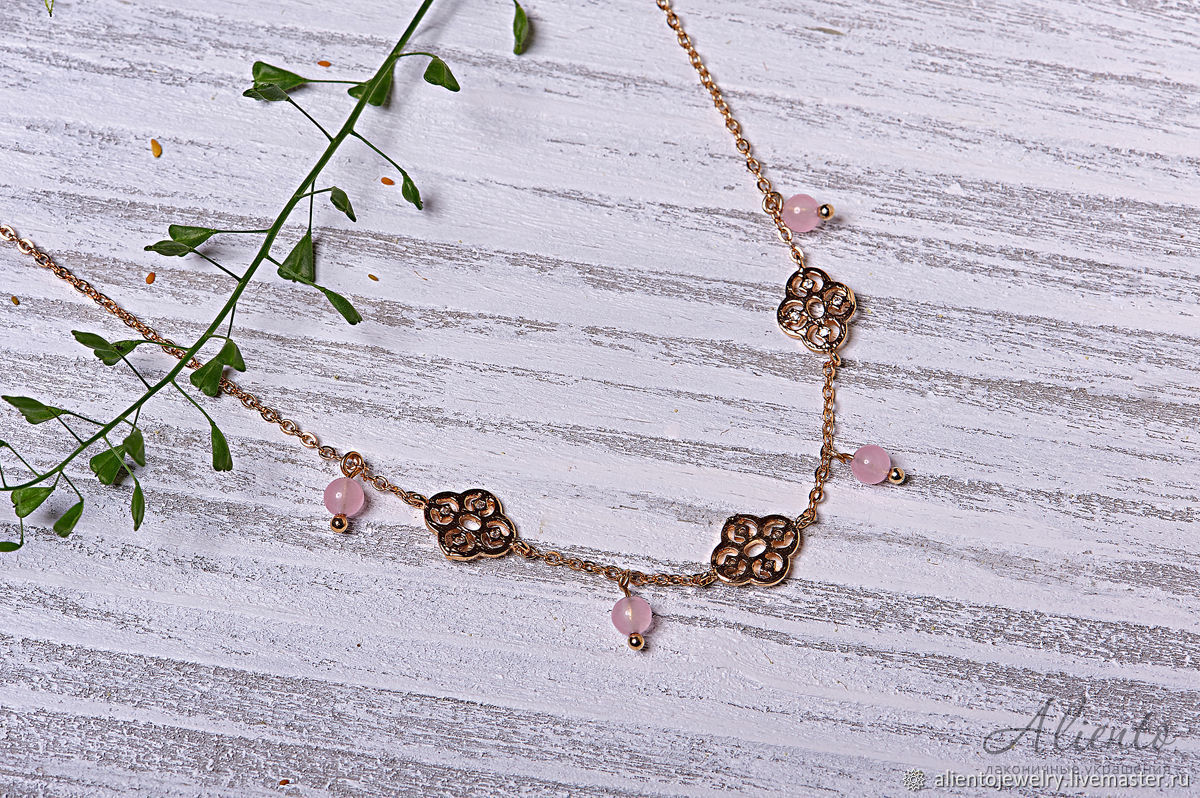Beautiful necklace 'East' in gold with pink beads, Necklace, Moscow,  Фото №1