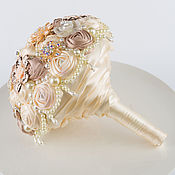 Свадебный салон handmade. Livemaster - original item Brooch-bouquet of champagne color