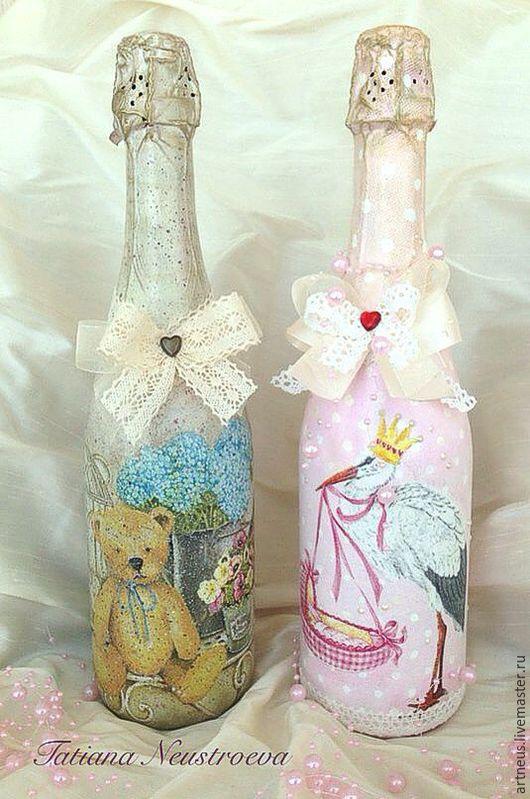 Подарочное оформление бутылок ручной работы. Ярмарка Мастеров - ручная работа. Купить Подарочное оформление бутылок. Handmade. подарок на юбилей