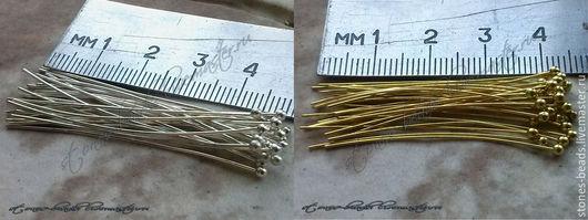1. Серебренный - 5,1 см.,диаметр 0,5мм. (71шт./10гр.) 2. Золотой под 18 к. - 4см., диаметр 0,45мм. (118шт./10гр.)