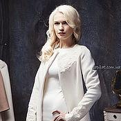 Одежда handmade. Livemaster - original item Woman White Wool Winter Coat, Wedding white collarless wool coat C-4. Handmade.