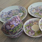 handmade. Livemaster - original item Set of porcelain dishes Pansies. Handmade.