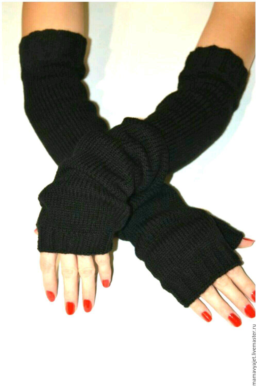 Митенки рукава, длинные митенки, вязаные рукава, черные ...