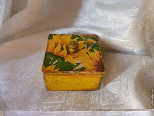 """Корзины, коробы ручной работы. Ярмарка Мастеров - ручная работа. Купить коробочка """"Солнышко"""". Handmade. Короб, подсолнух"""