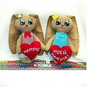 Куклы и игрушки ручной работы. Ярмарка Мастеров - ручная работа Для любимой мамочки, зайка с сердечком,подарок самому родному человеку. Handmade.