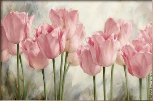 """Картины цветов ручной работы. Ярмарка Мастеров - ручная работа. Купить Картина из бисера """" Тюльпаны"""" вышивка. Handmade. Розовый"""