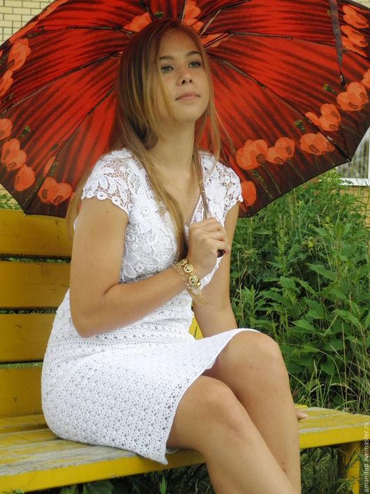 Платья ручной работы. Ярмарка Мастеров - ручная работа. Купить Белое белоснежное платье вязаное крючком ирландское кружево. Handmade.