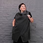 Одежда handmade. Livemaster - original item Vest grey flannel with open slices. Art. 1501. Handmade.