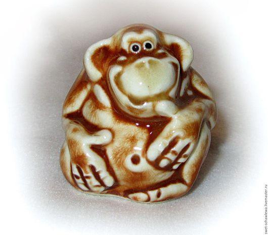 Миниатюрные модели ручной работы. Ярмарка Мастеров - ручная работа. Купить Весёлая обезьянка. Handmade. Рыжий, Керамика
