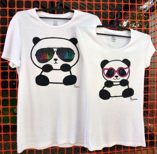мужские футболки с рисунком футболки для влюбленных оригинальные футболки панды в очках, яркие футболки для влюбленных