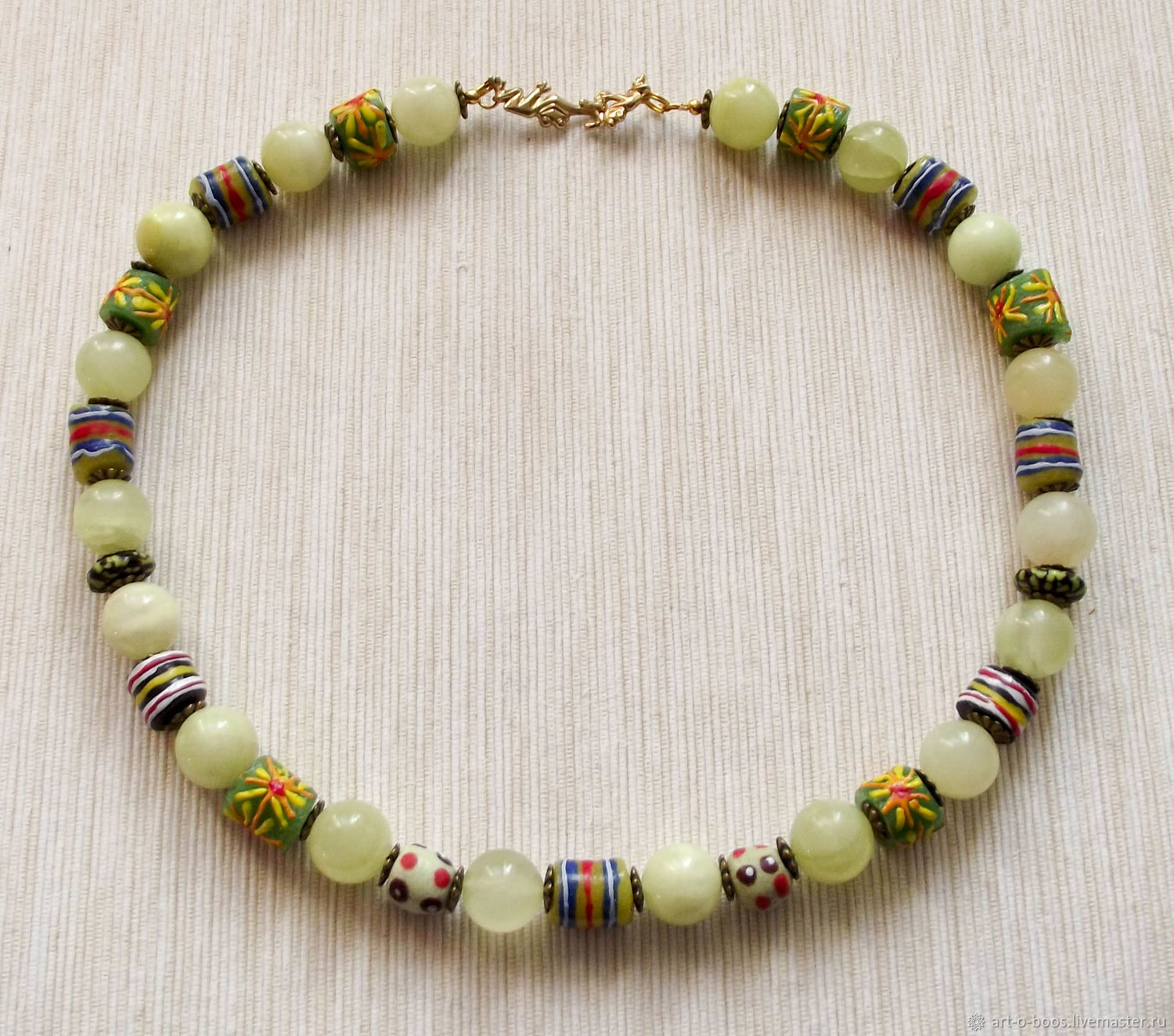 Beads 'the Frog Princess' onyx and African glass beads, Necklace, Moscow,  Фото №1