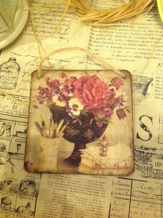 Картины цветов ручной работы. Ярмарка Мастеров - ручная работа. Купить Декоративное панно Цветы в вазоне. Handmade. Разноцветный
