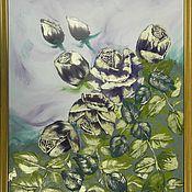 """Картины и панно handmade. Livemaster - original item Картина маслом цветы розы 40/60 """"Бронзовые розы"""". Handmade."""