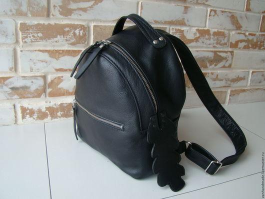 Рюкзаки ручной работы. Ярмарка Мастеров - ручная работа. Купить Стильный женский кожаный рюкзак с хвостиком. Эксклюзивный. Handmade. Черный