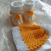 Работы для детей, ручной работы. Ярмарка Мастеров - ручная работа Пинетки  и шапочка. Handmade.