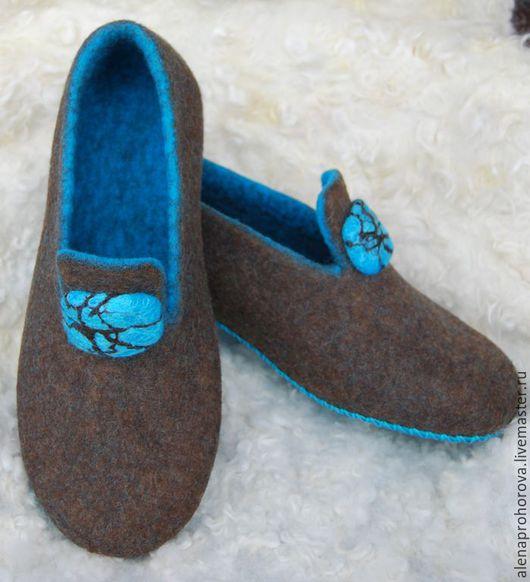 """Обувь ручной работы. Ярмарка Мастеров - ручная работа. Купить Войлочные тапочки """"Бирюза"""". Handmade. Бирюза, тапочки из шерсти"""