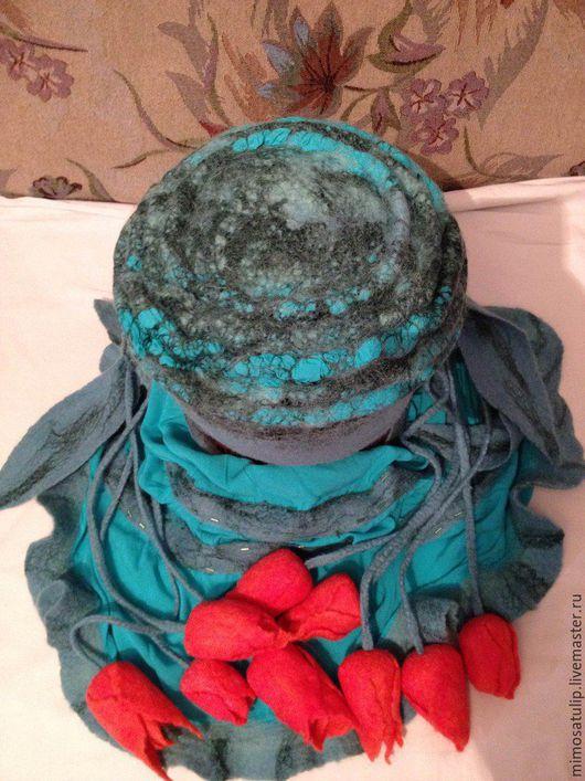 Шапки ручной работы. Ярмарка Мастеров - ручная работа. Купить комплект из шапочки и палантина -  Малахит. Handmade. Морская волна, тюльпаны