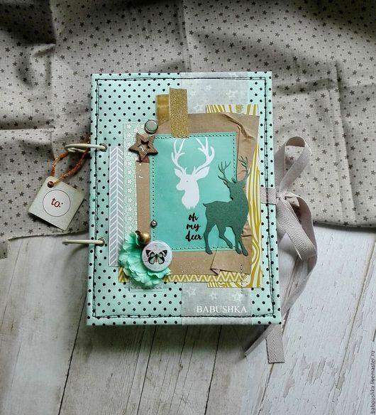 """Блокноты ручной работы. Ярмарка Мастеров - ручная работа. Купить Мятный саше-альбом """"Oh my deer"""" (по мотивам новогодней работы). Handmade."""