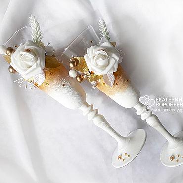 Свадебный салон ручной работы. Ярмарка Мастеров - ручная работа Золотистые свадебные бокалы с белыми цветами. Handmade.