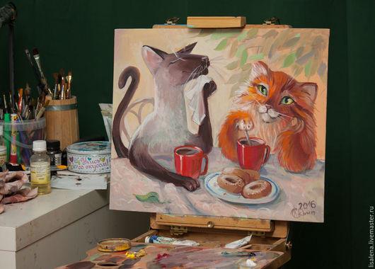 Животные ручной работы. Ярмарка Мастеров - ручная работа. Купить Чаепитие 2. Handmade. Оранжевый, чай