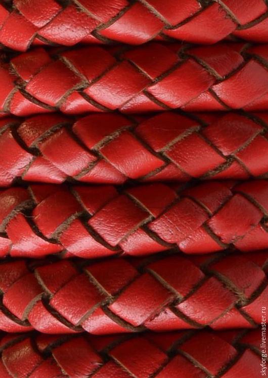 Для украшений ручной работы. Ярмарка Мастеров - ручная работа. Купить Шнур кожаный плетеный, 10 мм, красный. Handmade.