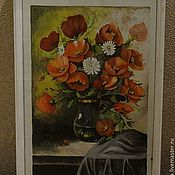 """Картины и панно ручной работы. Ярмарка Мастеров - ручная работа """"Маки в вазе"""". Handmade."""