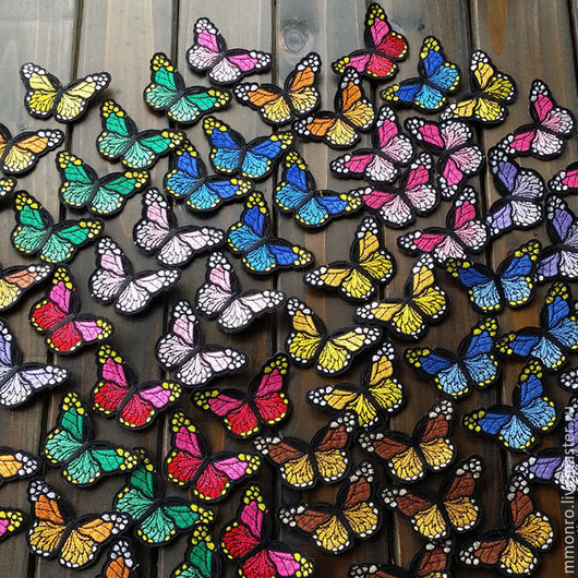 Аппликации, вставки, отделка ручной работы. Ярмарка Мастеров - ручная работа. Купить Шикарные термоаппликации, Радужные бабочки. Handmade. Ткань