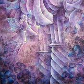 Картины и панно ручной работы. Ярмарка Мастеров - ручная работа Батик картина панно  Элементали. Картина на шелке Фиолетовый. Handmade.