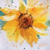 Картины и панно ручной работы. Ярмарка Мастеров - ручная работа Акварель Солнечный Цветок. Handmade.